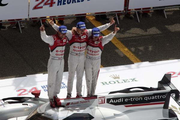 (Audi Sport Team Joest), Marcel Fässler (CH), André Lotterer (D), Benoît Tréluyer (F