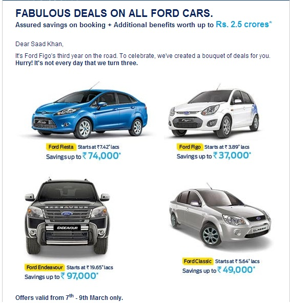 Get offers of rs 37 000 on figo rs 97 000 on other ford cars for Ford motor company incentives