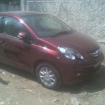 SPIED: Dark Red Honda Amaze Spotted at a Dealership, Looks Good!