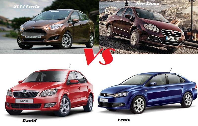 2014 Fiesta Vs Vento Vs Linea Vs Rapid Vs Sx4 Price