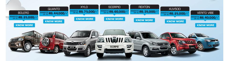 Offers Scorpio 60000 Xylo 75000 Quanto 44000 Discounts On All