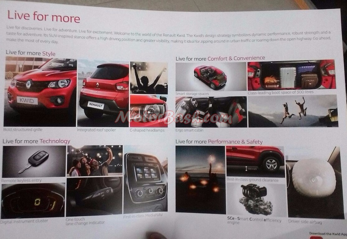 Kwid Brochure Revealed All Details Key Pointers Listed