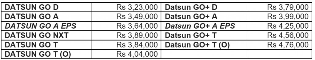 Datsun Go and Go+ prices