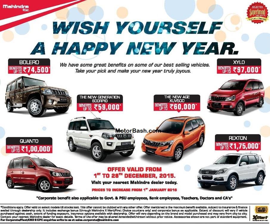 Mahindra-XUV500-Scorpio-December-Discount