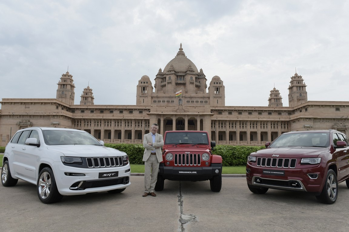 Mr. Kevin Flynn, President and MD, FCA India with L-R- SRT, Wrangler and Grand Cherokee